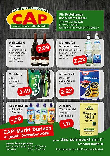 CAP-Markt Durlach: Angebote im Dezember 2019. Grafik: pm