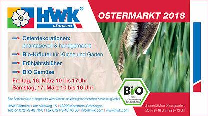 Ostermarkt in der HWK Gärtnerei. Grafik: pm