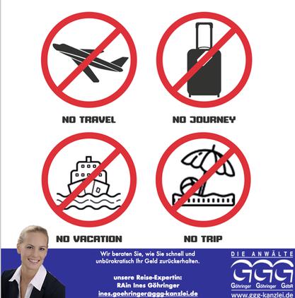 Reisestorno? Geld zurück mit GGG - Die Anwälte. Grafik: pm
