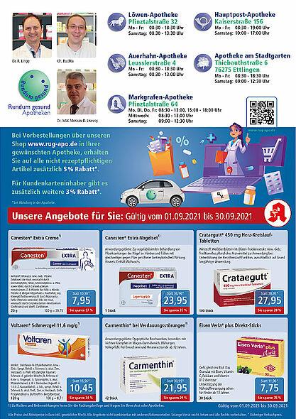 Rundum gesund Apotheken: Angebote im September 2021. Grafik: pm