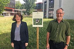 Blühende Wiesen auf dem Campus Süd des KIT: Mit neuen Schildern wird auf das ökologische Pflegekonzept hingewiesen.