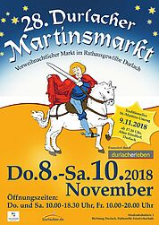 28. Martinsmarkt im Rathausgewölbe und Sankt Martin hoch zu Ross in Durlach. Grafik/Foto: pm