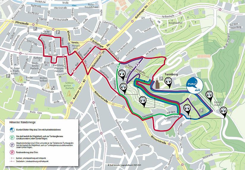Rund- und Wanderwege am Turmberg. Grafik: Stadt Karlsruhe / Liegenschaftsamt