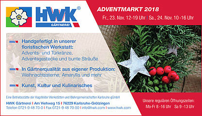 Adventmarkt der HWK Gärtnerei. Grafik: pm