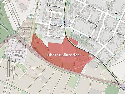 """Lageplan """"Oberer Säuterich"""" (Stand: 04/2015). Karte: © OpenStreetMap-Mitwirkende / Bearbeitung: cg"""