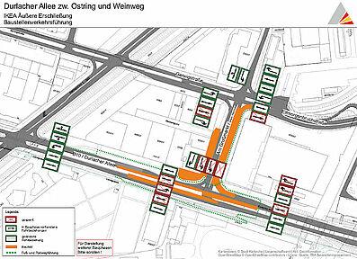 IKEA Äußere Erschließung: Baustellenverkehrsführung. Grafik: Stadt Karlsruhe