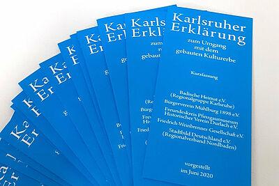 """Der Flyer zur """"Karlsruher Erklärung"""" ist auf der Webseite der Friedrich-Weinbrenner-Gesellschaft zu finden (siehe Links). Grafik: pm"""