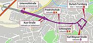 Fahrweg der SEV-Busse. Grafik: OpenStreetMap - Mitwirkende