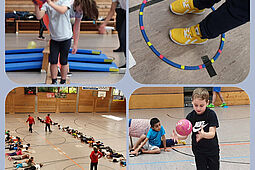 """""""Lauf dich frei! Ich spiel' dich an. – Kinder lernen Handball kennen."""" Gemeinsamer Aktionstag der Pestalozzischule und der Turnerschaft Durlach. Foto: pm"""