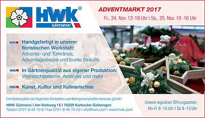 Adventmarkt der HWK Gärtnerei. Grafik: pm