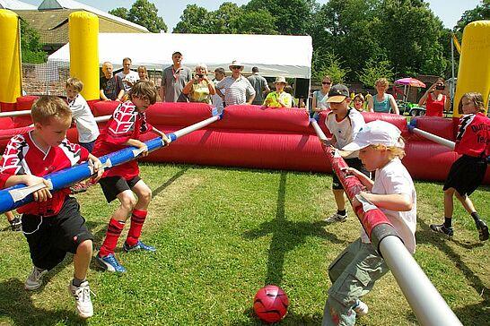 30 Menschen-Kicker-Turnier (II) - In Anlehnung an die Fußball-EM 2012 feierte das Online-Portal im Weiherhof seinen 5. Geburtstag. (47 Fotos)