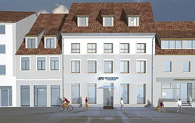 So wird die neue Regionalfiliale Durlach in der Pfinztalstraße aussehen. Grafik: pm