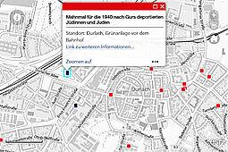 Stadtplan: Erinnerungsorte für die Opfer des Nationalsozialismus. Karte: Liegenschaftsamt / Stadt Karlsruhe