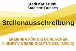 Stadtamt Durlach sucht Erzieher für die Durlacher Kindertageseinrichtungen (m/w/d) Grafik: Stadt Karlsruhe/cg