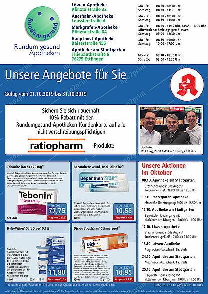 Rundum gesund Apotheken: Aktionen und Angebote im Oktober 2019. Grafik: pm