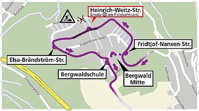 Umleitungsroute der Buslinie 24. Karte: OpenStreetMap – Mitwirkende