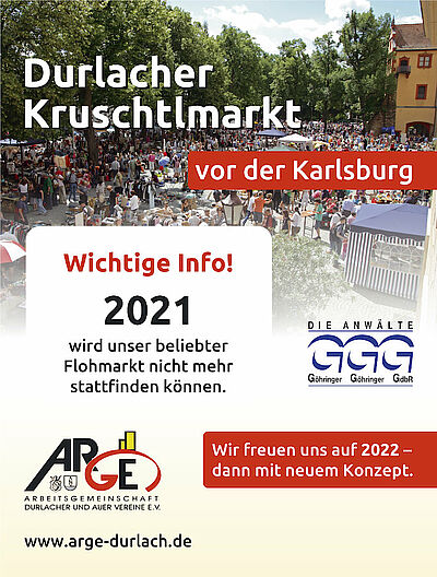 Die Durlacher Kruschtlmärkte finden erst wieder 2022 statt. Grafik: cg