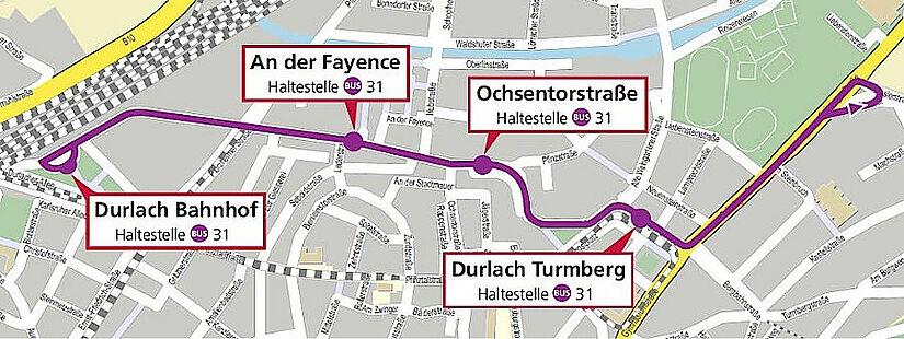 Aufgrund des Verkaufsoffenen Sonntags fahren am 19. September nachmittags keine Straßenbahnen durch die Pfinztalstraße. Die VBK richten einen Ersatzverkehr mit Bussen ein. Grafik: OpenStreetMap – Mitwirkende