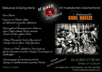Musik Dinner mit Cool Breeze. Grafik: pm