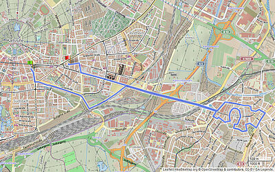 Die Tourstrecke. Karte: Leaflet   HikeBikeMap.org © OpenStreetMap & contributors, CC-BY-SA