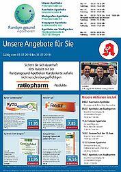 Rundum gesund Apotheken: Aktionen und Angebote im Juli 2019. Grafik: pm