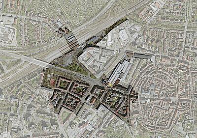 Luftbild Durlach Stadteingang. Grafik: Stadt Karlsruhe