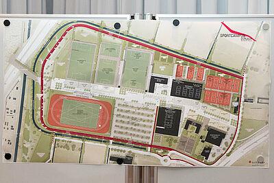 """Entwurf für """"Sport- und Freizeitpark Untere Hub"""" – erste Fassung. Foto: cg"""