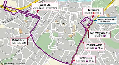 Fahrstrecke des Schienenersatzverkehr-Busses am 6. Oktober 2018. Kartenmaterial: OpenStreetMap – Mitwirkende