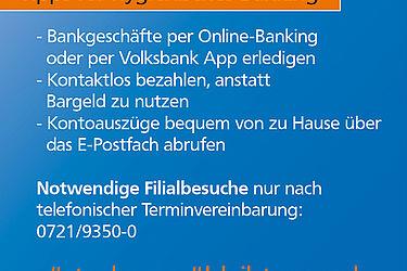 Volksbank: Filialbesuch nur noch mit Termin. Grafik: pm