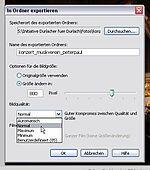 Screenshot: Exportparameter