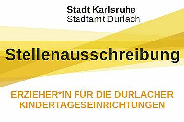 Stadtamt Durlach sucht Erzieher*in für die Durlacher Kindertageseinrichtungen. Grafik: Stadt Karlsruhe/cg
