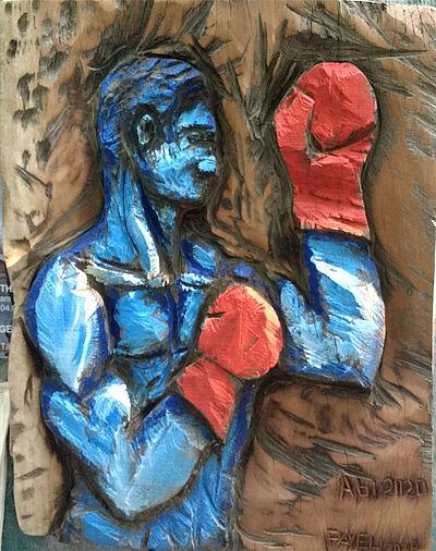 "Pavel Miguel, ""5 Jahre Kampf"", Mahagoni Holz, 100 x 80 cm, 2020. Foto: zettzwo"