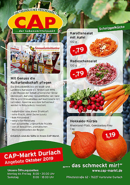 CAP-Markt Durlach: Angebote im Oktober 2019. Grafik: pm