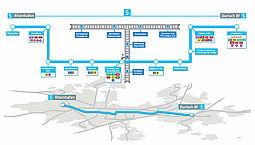 Neues Liniennetz: Verlauf Tram Linie 5. Grafik: VBK