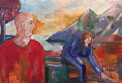 """Karin Münch, """"Durchblicke Einblicke"""", Acryl und Öl auf Leinwand, 89 x 100 cm, 2020. Foto: zettzwo"""