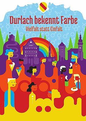 Durlach bekennt Farbe – Vielfalt statt Einfalt. Grafik: pm