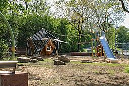Der 2017 neu eröffnete Spielplatz in der Untermühlsiedlung. Foto: cg