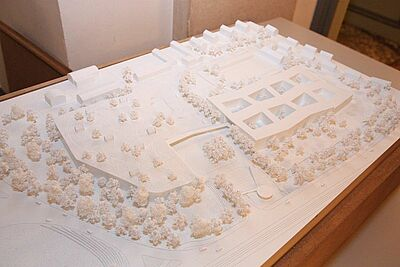 Modell des Bauvorhabens von dm in der Untermühlsiedlung (Stand: 11/2013). Foto: cg