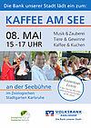 """Volksbank Karlsruhe lädt ein zum """"Kaffee am See"""" im Zoologischen Stadtgarten. Grafik: pm"""