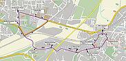 Pendelverkehr: SEV im Falle einer Entschärfung für die Bahnen auf der Durlacher Allee. Grafik: vbk