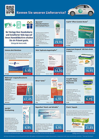 Rundum gesund Apotheken: Angebote im März 2021. Grafik: pm