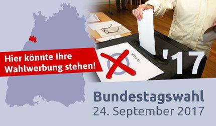 Bundestagswahl 2017: Parteienwerbung auf Durlacher.de. Grafik: cg